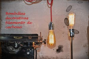 bombillas filamento cable rojo maquina escribir