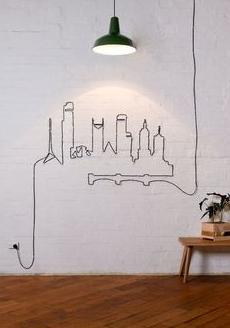 decorar con cables dibujo pared