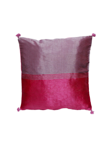 Cojín-rosa y lila en seda vegeta