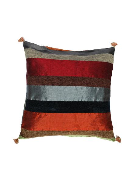 Coj n artesanal multicolor tonos naranja en sabra o fibra - Cojines de bolitas ...