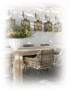decoracion bambu, maderas y fibras