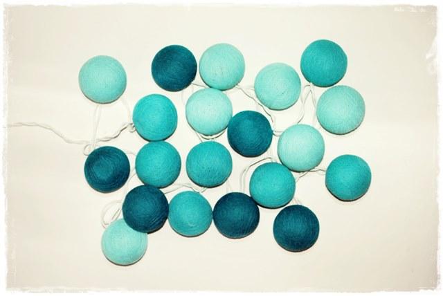 Guirnalda De Luces De Bolitas De Algod 243 N Azul Turquesa