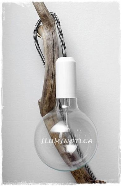 rama árbol, cable textil plancha y bombilla decorativa filamento carbono
