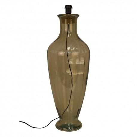 Lámpara sobremesa vidrio reciclado ahumado.