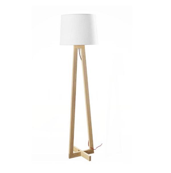 Lámpara pie de salón en madera con pantalla Alma. – Iluminoteca