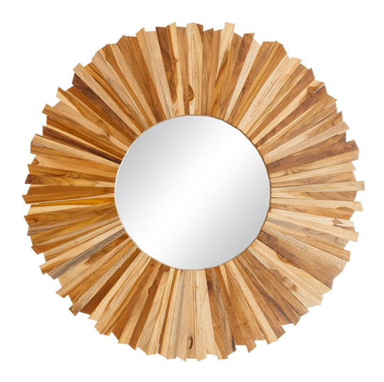 Espejo redondo en madera de teca iluminoteca for Espejo redondo marco madera